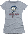 Betty Boop juniors sheer t-shirt Zombie Pinup athletic heather