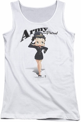 Betty Boop juniors tank top Army Boop white