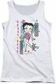 Betty Boop juniors tank top Booping 80s Style white