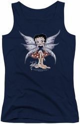 Betty Boop juniors tank top Mushroom Fairy navy