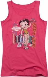 Betty Boop juniors tank top Wet Your Whistle hot pink