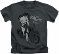 Betty Boop kids t-shirt BBMC Motorcycle Club charcoal