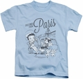 Betty Boop kids t-shirt Greetings From Paris light blue