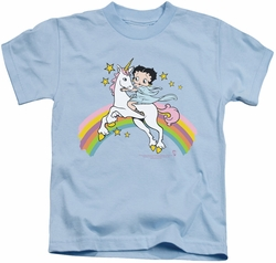 Betty Boop kids t-shirt Unicorn & Rainbows light blue