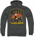 Betty Boop pull-over hoodie Betty's Motorcycles adult charcoal