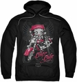 Betty Boop pull-over hoodie Biker Babe adult black
