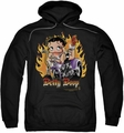 Betty Boop pull-over hoodie Biker Flames Boop adult black