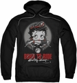 Betty Boop pull-over hoodie Born To Ride adult black