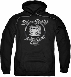 Betty Boop pull-over hoodie Chromed Logo adult black