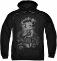 Betty Boop pull-over hoodie Fashion Roses adult black