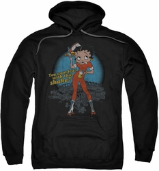 Betty Boop pull-over hoodie Fries With That adult black