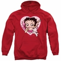Betty Boop pull-over hoodie I Love Betty adult red