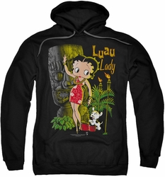 Betty Boop pull-over hoodie Luau Lady adult black
