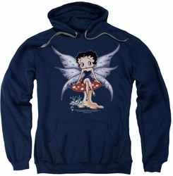 Betty Boop pull-over hoodie Mushroom Fairy adult navy