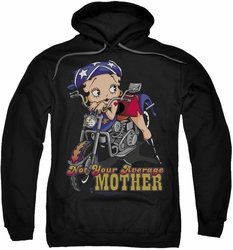 Betty Boop pull-over hoodie Not Your Average Mother adult black