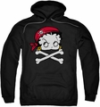 Betty Boop pull-over hoodie Pirate adult black