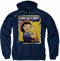 Betty Boop pull-over hoodie Power adult navy