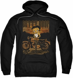 Betty Boop pull-over hoodie Rebel Rider adult black