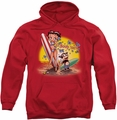 Betty Boop pull-over hoodie Surf adult red
