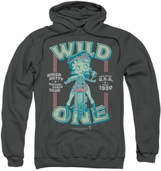 Betty Boop pull-over hoodie Wild One adult charcoal
