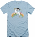 Betty Boop slim-fit t-shirt Unicorn & Rainbows mens light blue
