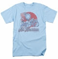 Betty Boop t-shirt All American Biker mens light blue