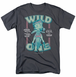 Betty Boop t-shirt Wild One mens charcoal