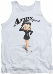 Betty Boop tank top Army Boop adult white