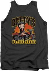 Betty Boop tank top Betty's Motorcycles adult charcoal