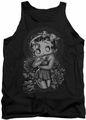 Betty Boop tank top Fashion Roses adult black