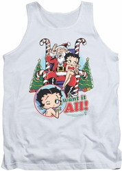 Betty Boop tank top I Want It All adult white