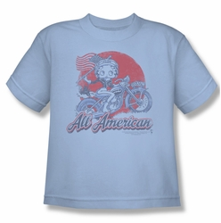 Betty Boop youth teen t-shirt All American Biker light blue