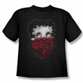 Betty Boop youth teen t-shirt Bandana & Roses black