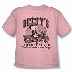 Betty Boop youth teen t-shirt Betty's Motorcycles pink