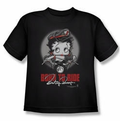 Betty Boop youth teen t-shirt Born To Ride black