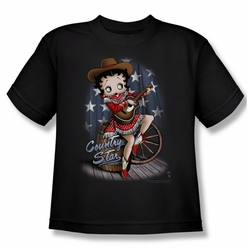 Betty Boop youth teen t-shirt Country Star black