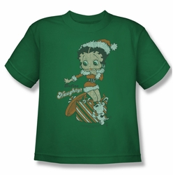 Betty Boop youth teen t-shirt Define Naughty kelly green