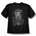 Betty Boop youth teen t-shirt Fashion Roses black