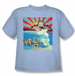 Betty Boop youth teen t-shirt Hang Ten light blue