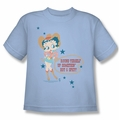 Betty Boop youth teen t-shirt Hot And Spicy Cowgirl light blue