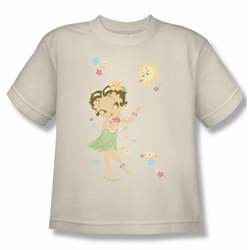 Betty Boop youth teen t-shirt Hula Flowers cream