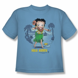 Betty Boop youth teen t-shirt Hula Honey carolina blue