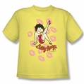Betty Boop youth teen t-shirt Kisses banana