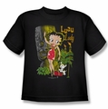 Betty Boop youth teen t-shirt Luau Lady black