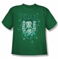 Betty Boop youth teen t-shirt Lucky Boop kelly green