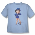 Betty Boop youth teen t-shirt Officer Boop light blue