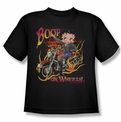 Betty Boop youth teen t-shirt On Wheels black