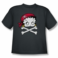 Betty Boop youth teen t-shirt Pirate charcoal