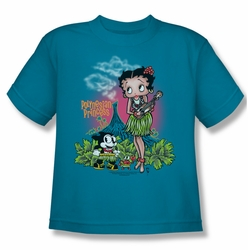 Betty Boop youth teen t-shirt Polynesian Princess turquoise