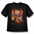Betty Boop youth teen t-shirt Sunset Rider black